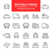 Transportation, transport, editable stroke, outline, icon, icon set, vehicle, car, truck, bus, ship, train, motorcycle, airplane