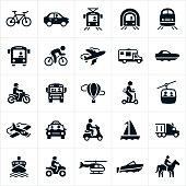 A set of different modes of transportation. The modes of transportation include a bicycle, car, light rail, subway, train, bus, airplane, motorhome, yacht, boat, motorcycle, school-bus, hot air balloon, scooter, motor scooter, gondola, taxi, motorized scooter, sailboat, semi truck, cruise ship, four wheeler, helicopter and horse.