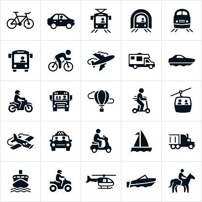 Transportation Icons — стоковая векторная графика и другие изображения на тему Автобус