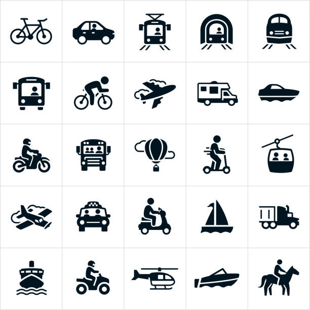 illustrazioni stock, clip art, cartoni animati e icone di tendenza di transportation icons - automotive