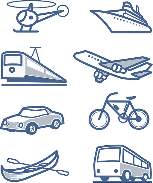 Transportation icons vector art illustration