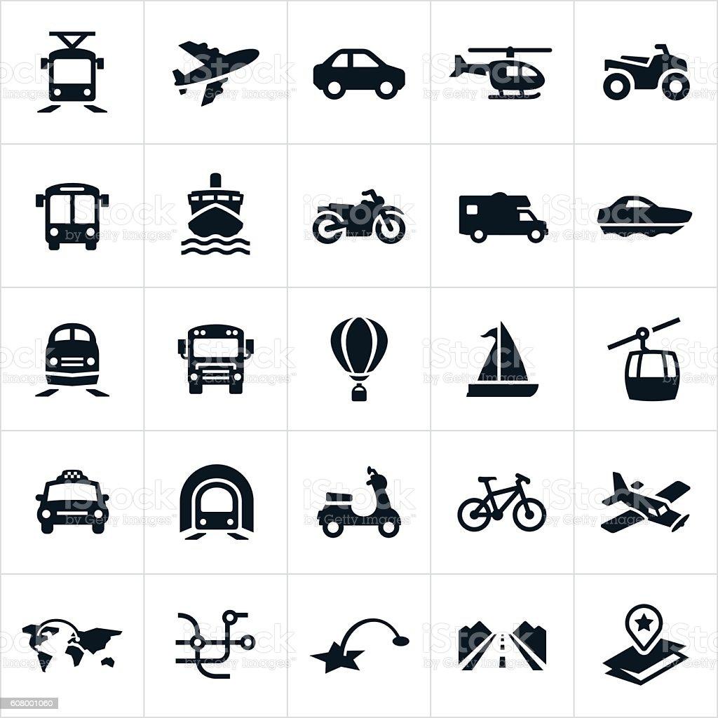 Iconos de transporte - ilustración de arte vectorial