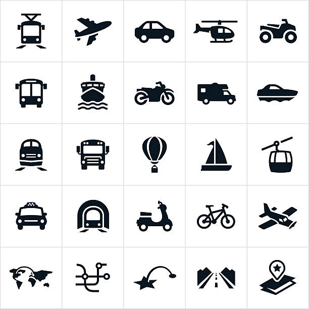 Transportation Icons Icons showing different methods of transportation. The icons include a car, airplane, helicopter, ATV, light rail, bus, train, taxi, cruise ship, motorcycle, motorhome, boat, school bus, hot air balloon, sail boat, gondola, subway, scooter and bicycle. airplane symbols stock illustrations