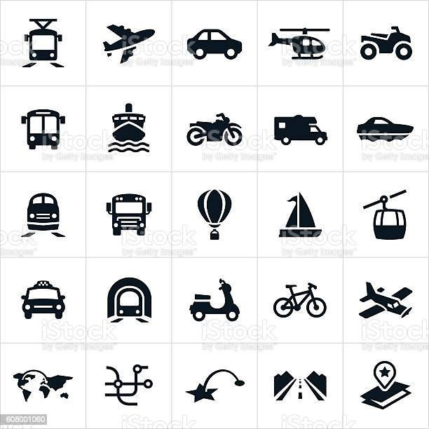 Icons showing different methods of transportation. The icons include a car, airplane, helicopter, ATV, light rail, bus, train, taxi, cruise ship, motorcycle, motorhome, boat, school bus, hot air balloon, sail boat, gondola, subway, scooter and bicycle.