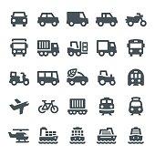 Transportation, transport, icon, icon set, vehicle, car, truck, bus, ship, train, motorcycle, airplane