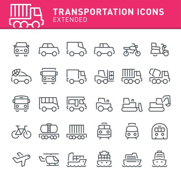 transport icons - wohnwagenanhänger stock-grafiken, -clipart, -cartoons und -symbole
