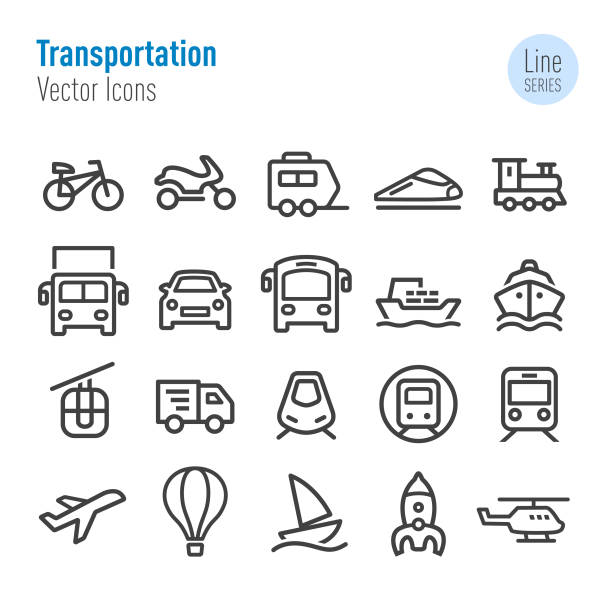 illustrations, cliparts, dessins animés et icônes de icônes de transport - vecteur ligne série - train