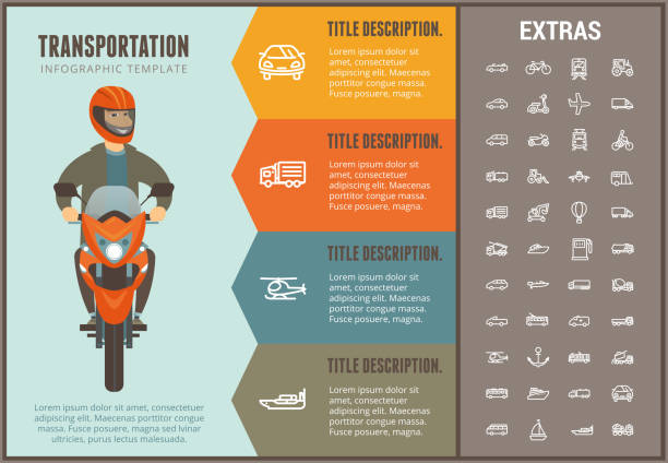 Transportation infographic template and elements vector art illustration