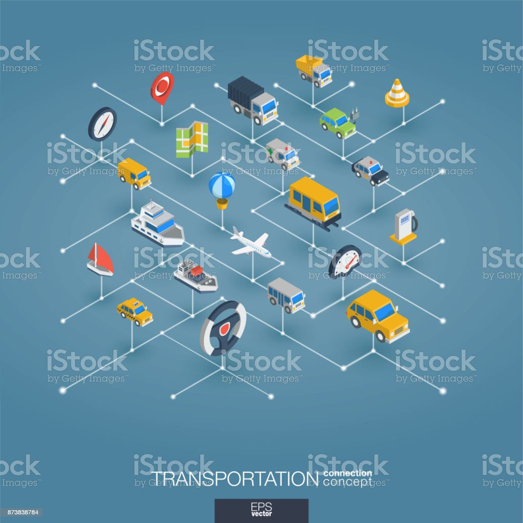 Transportation Integrated 3d Web Icons Digital Network Isometric ...