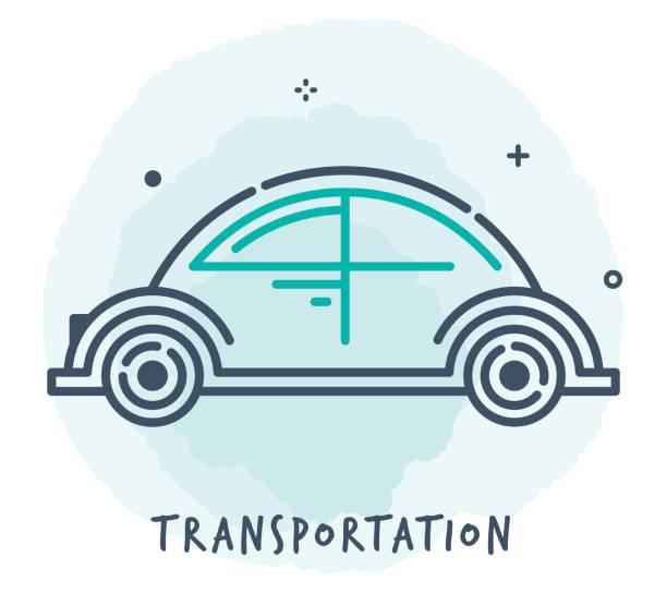transportation line icon - self driving cars stock illustrations, clip art, cartoons, & icons