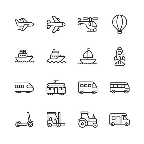 stockillustraties, clipart, cartoons en iconen met transport lijn iconen. bewerkbare lijn. pixel perfect. voor mobiel en web. bevat dergelijke pictogrammen zoals vervoer, auto, voertuig, vliegtuig, vliegtuig, hete luchtballon, cruiseschip, raket, trein, scooter. - airport pickup