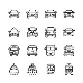 16 Transportation Outline Icons.