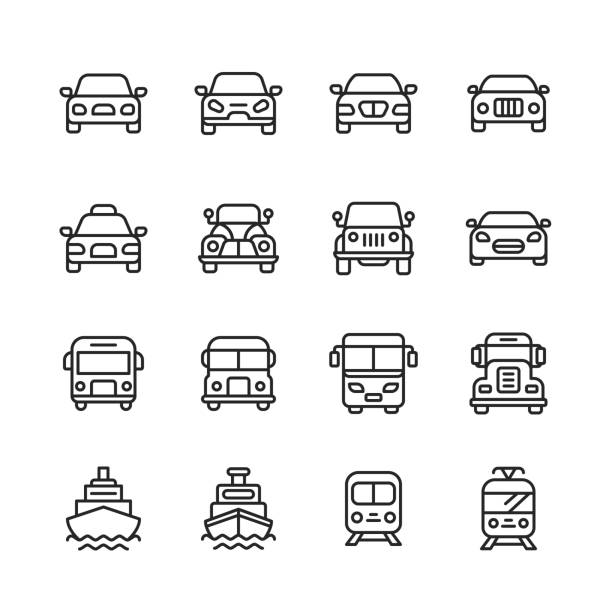 Transportation Line Icons. Editable Stroke. Pixel Perfect. For Mobile and Web. Contains such icons as Transportation, Car, Vehicle, Train, Cruise Ship, Bus, Delivery, Logistics. 16 Transportation Outline Icons. car icons stock illustrations