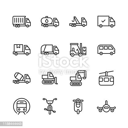 istock Transportation Line Icons. Editable Stroke. Pixel Perfect. For Mobile and Web. Contains such icons as Transportation, Car, Vehicle, Train, Cruise Ship, Bus, Delivery, Logistics, Bicycle, Bike, Scooter, Plane. 1158444443