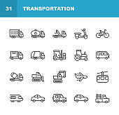 istock Transportation Line Icons. Editable Stroke. Pixel Perfect. For Mobile and Web. Contains such icons as Truck, Motorbike, Bicycle, Tractor, Plane, Train, Vehicle, Transport. 1158834504