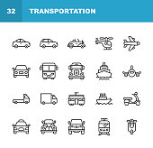 20 Transportation Outline Icons.