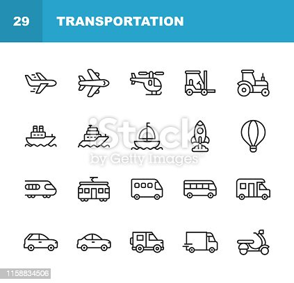 istock Transportation Line Icons. Editable Stroke. Pixel Perfect. For Mobile and Web. Contains such icons as Plane, Helicopter, Tractor, Forklift, Yacht, Tram, Scooter, Rocket. 1158834506