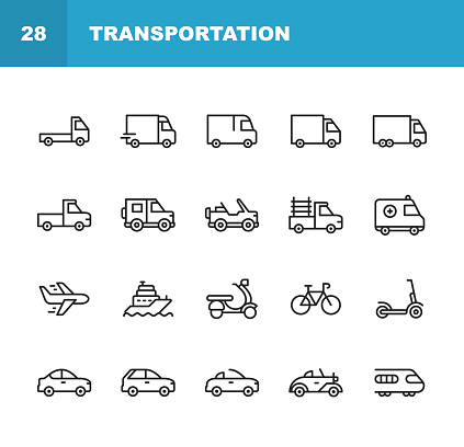Transportation Line Icons. Editable Stroke. Pixel Perfect. For Mobile and Web. Contains such icons as Truck, Car, Vehicle, Shipping, Sailboat, Plane, Motorbike, Bicycle.