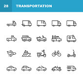 istock Transportation Line Icons. Editable Stroke. Pixel Perfect. For Mobile and Web. Contains such icons as Truck, Car, Vehicle, Shipping, Sailboat, Plane, Motorbike, Bicycle. 1158834508