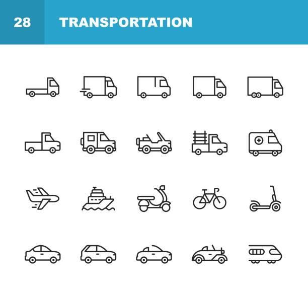 ikony linii transportowych. edytowalny obrys. pixel perfect. dla urządzeń mobilnych i sieci web. zawiera takie ikony jak ciężarówka, samochód, pojazd, wysyłka, żaglówka, samolot, motocykl, rower. - przewóz stock illustrations