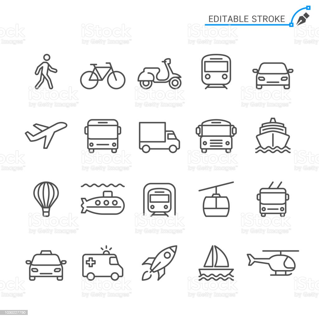 Icônes de transport de ligne. Modifiables en course. Pixel perfect. - clipart vectoriel de Accident et désastre libre de droits