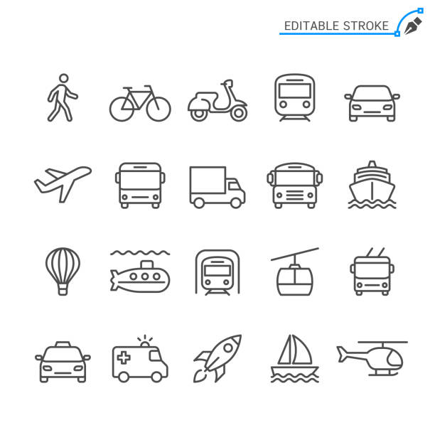 stockillustraties, clipart, cartoons en iconen met de pictogrammen van de lijn van de transport. bewerkbare beroerte. pixel perfect. - trein
