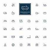 32 transportation line icons