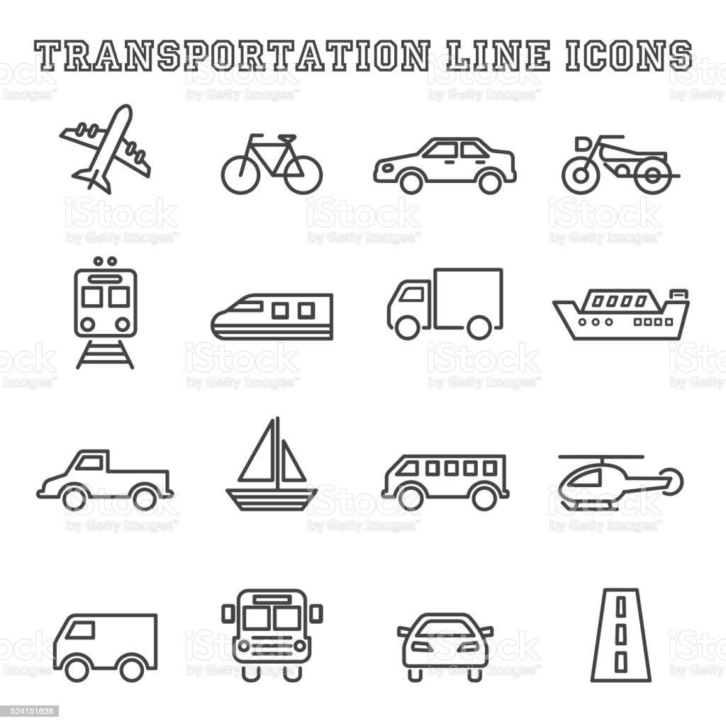 transportation line icons vector art illustration