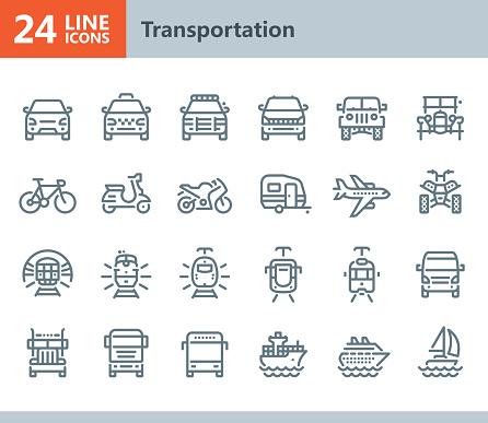Transportation - line vector icons
