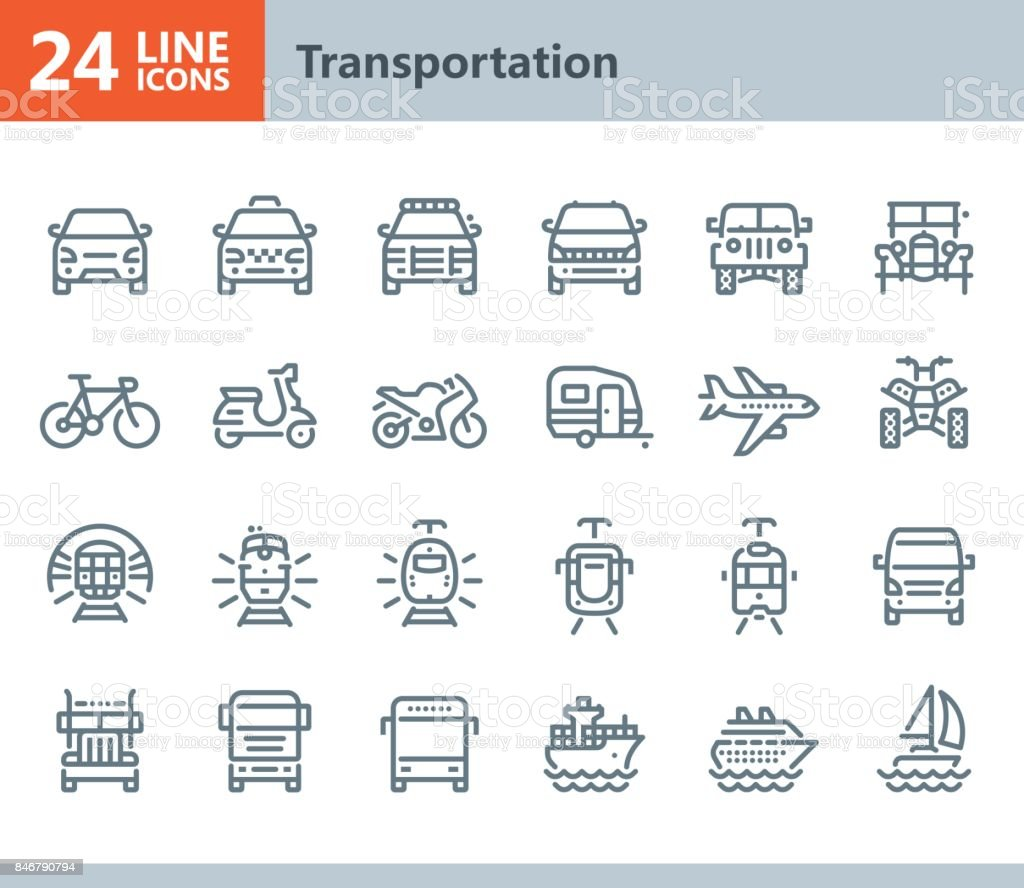 Transportation - line vector icons vector art illustration