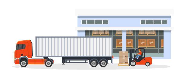 stockillustraties, clipart, cartoons en iconen met transport, logistieke levering van vrachtwagens op grote bestelwagen. - warenhuismedewerker