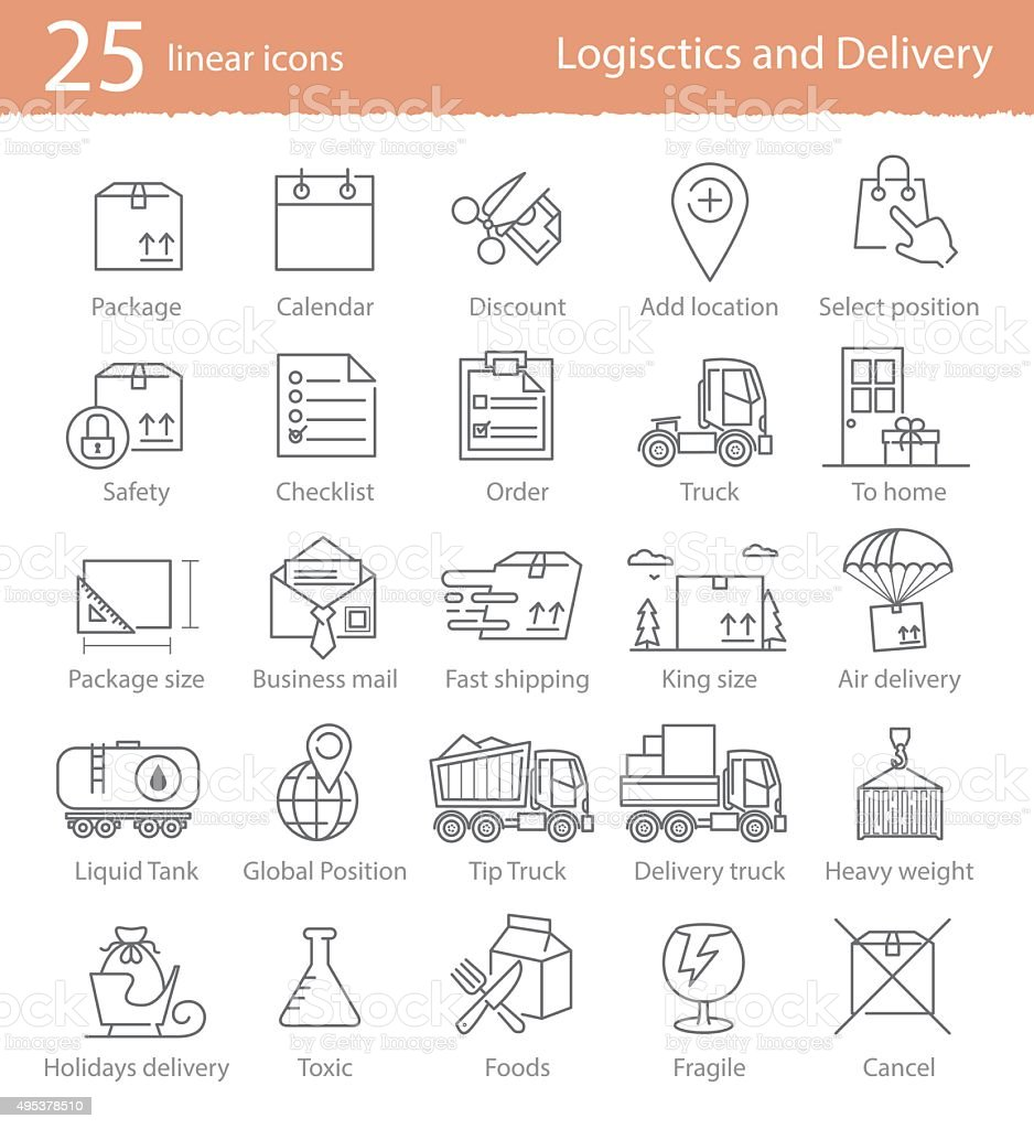 Transportation, logistics and delivery linear style icons set vector art illustration