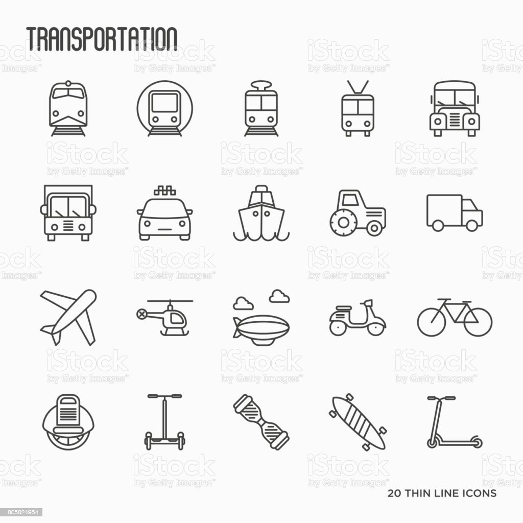 Transportation, logistics and travel thin line icons set. Vector illustration. vector art illustration