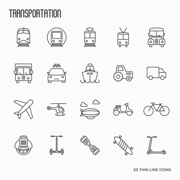 交通、物流、旅行の細い線アイコンを設定します。ベクトルの図。 - 列車点のイラスト素材/クリップアート素材/マンガ素材/アイコン素材