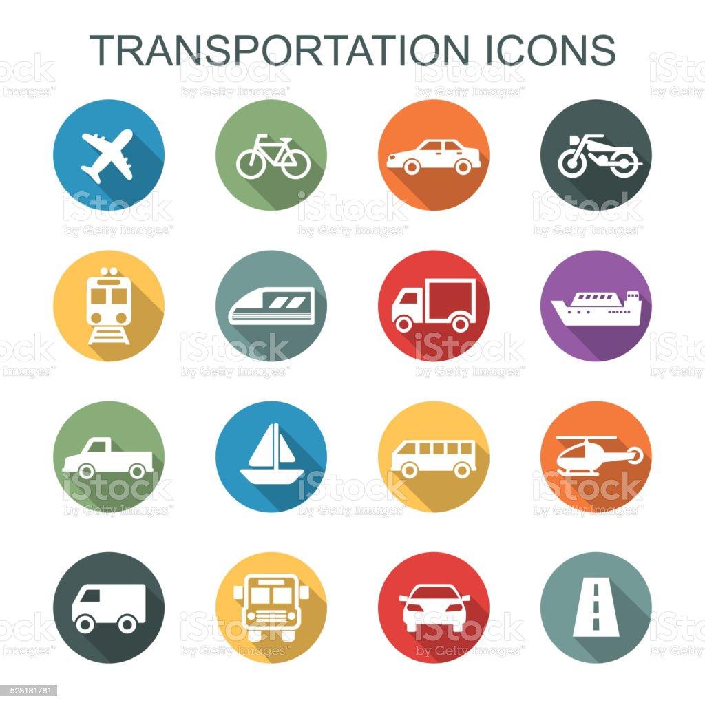 transportation long shadow icons vector art illustration
