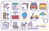 Line icon set vector illustrations of transportation management system, order processing and warehouse distribution.