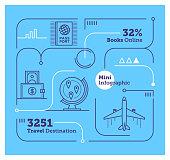 Vector Infographic Line Design Elements for Air Transportation