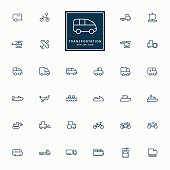 32 transportation minimal outline icons
