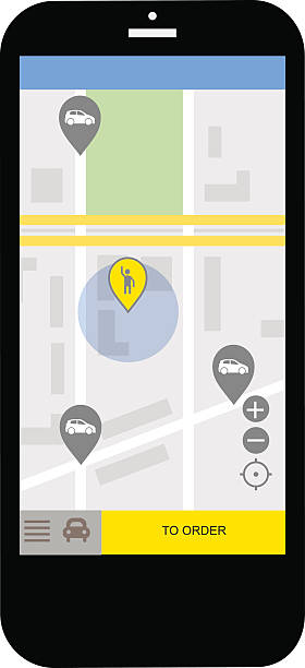 Transportation network app, calling a cab by mobile phone concept vector art illustration