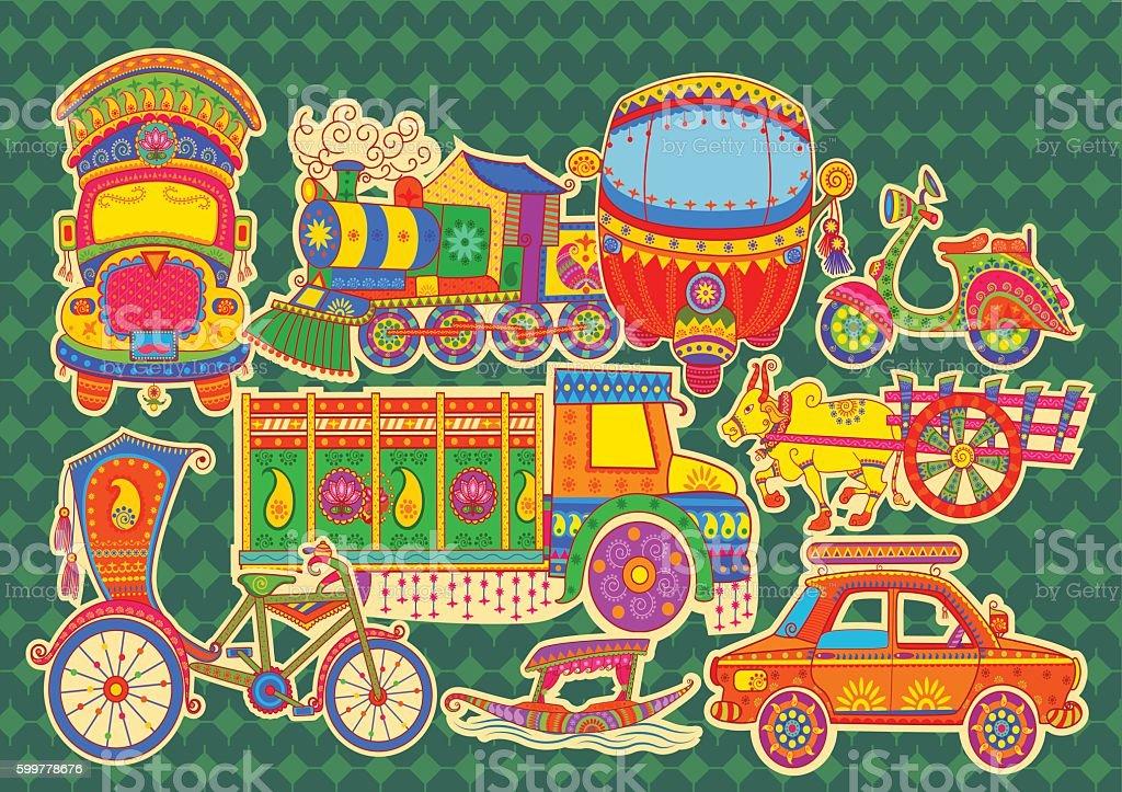 Transportation of India vector art illustration