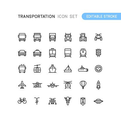 Transportation Outline Icons Editable Stoke