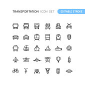 Set of transportation outline vector icons. Easy editable stroke.