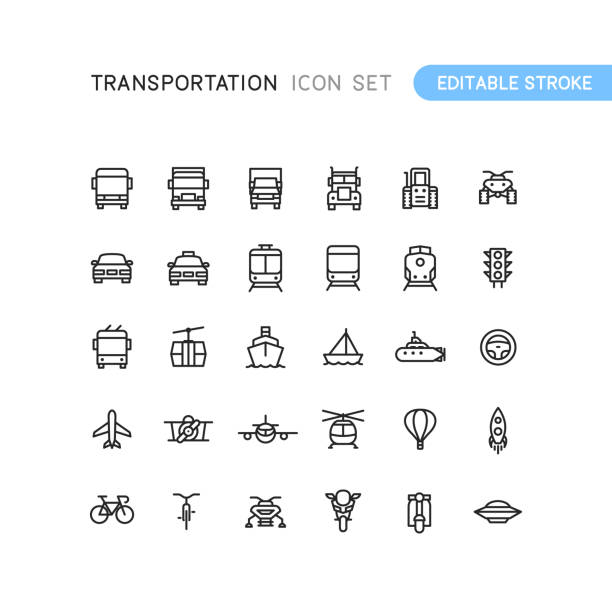 illustrazioni stock, clip art, cartoni animati e icone di tendenza di transportation outline icons editable stoke - automotive