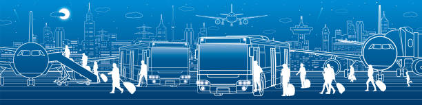 Transportation panoramic. Passengers enter and exit to the bus. Airport travel transportation infrastructure. The plane is on the runway. Night city on background, vector design art Transportation panoramic. Passengers enter and exit to the bus. Airport travel transportation infrastructure. The plane is on the runway. Night city on background, vector design art airport drawings stock illustrations