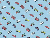 A vector  pattern with a transportation theme.