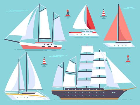 Transportation sailboats, yacht, sailing cruise ship. Sea and ocean vessel isolated vector set