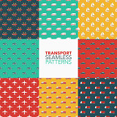 Transportation Seamless Pattern Set
