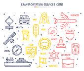 Set of doodle vector illustrations of transportation services.