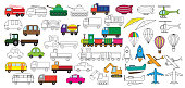 Transportation. Set of cars icons. Coloring book. Vector illustration.
