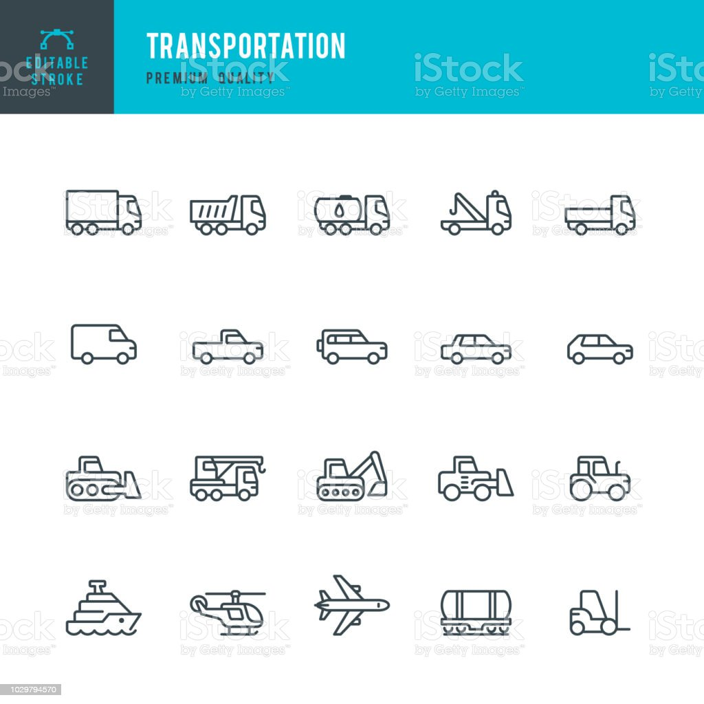 Transportation - set of line vector icons Set of Transports and Construction Machinery thin line vector icons. 4x4 stock vector